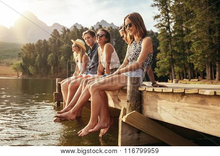 Friends Enjoying A Day At The Lake