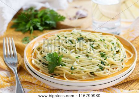 Traditional Italian Pasta With Garlic And Parsley