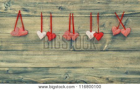 Red Hearts. Valentines Day Background. Vintage Style