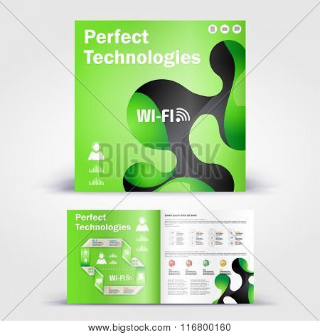 Technology brochure. Color application booklet template design for corporate identity with statistics and infographics. Cover layout and infographics. Business stationery.