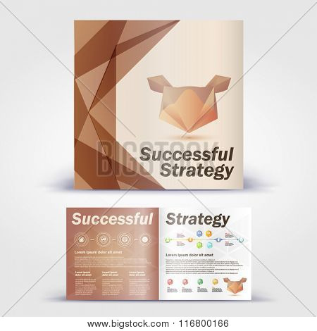 Polygon animal  bear brochure. Color application booklet template design for corporate identity with statistics and infographics. Cover layout and infographics. Business stationery.