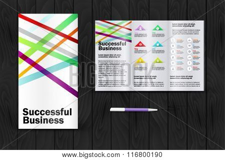 Stripes brochure. Color application booklet template design for corporate identity with statistics and infographics. Cover layout and infographics. Business stationery.