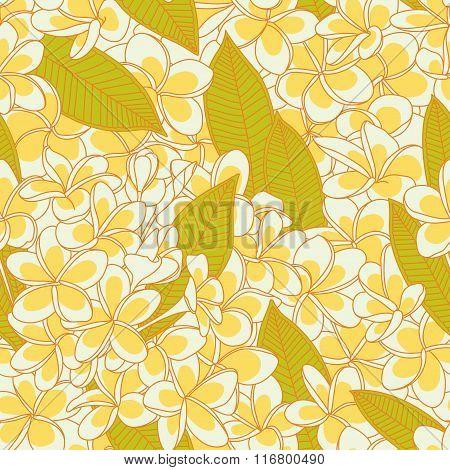 yellow plumeria pattern