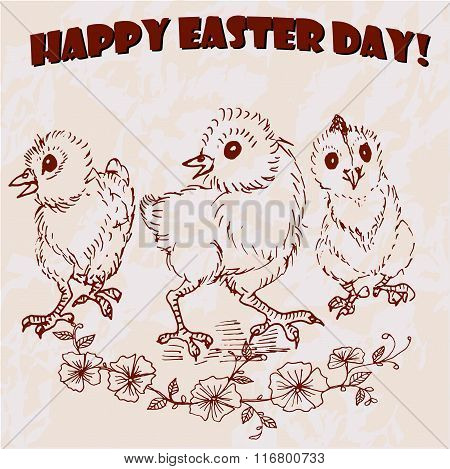 Happy Easter Day vector hand drawn greeting card.