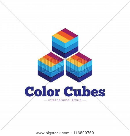 Vector paper style multicolor cubes logo. Flat striped cubes abstract symbol