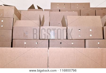 Cardboard Packing Boxes In A Warehouse