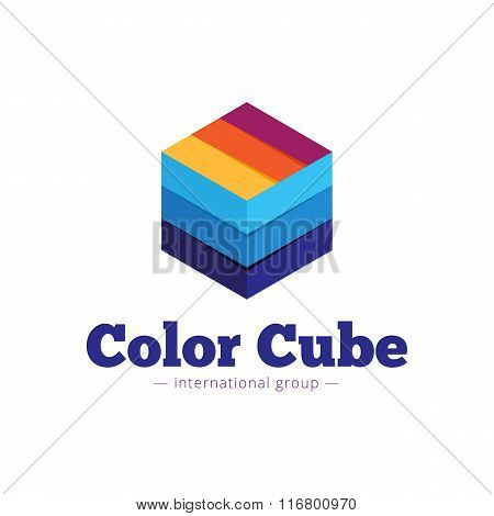 Vector paper style multicolor cube logo. Flat striped cube abstract symbol