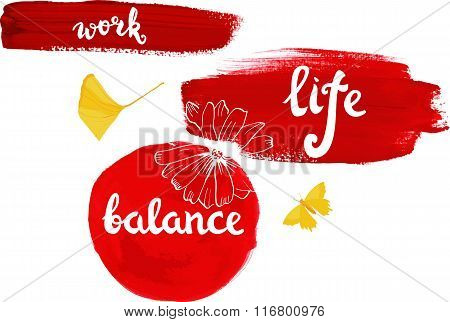 Work-life Balance Vector Illustration With Calligraphy