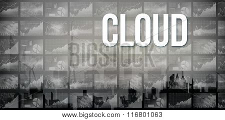 The word cloud and stocks and shares against cityscape silhouette