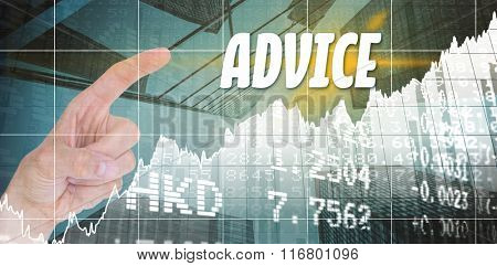 The word solution and close up view of man pointing something against stocks and shares