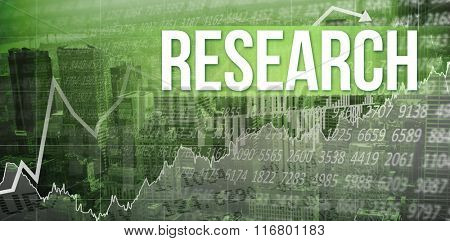 The word research and stocks and shares against view of cityscape