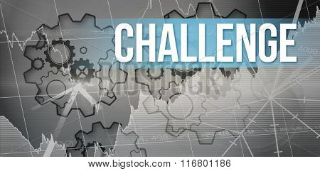 The word challenge and stocks and shares against turning cogs