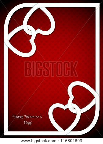 Valentine's Day Greeting With White Heart Shaped Ribbon