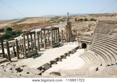 Roman Theatre In Dougga - The Former Capital Of Numidia.