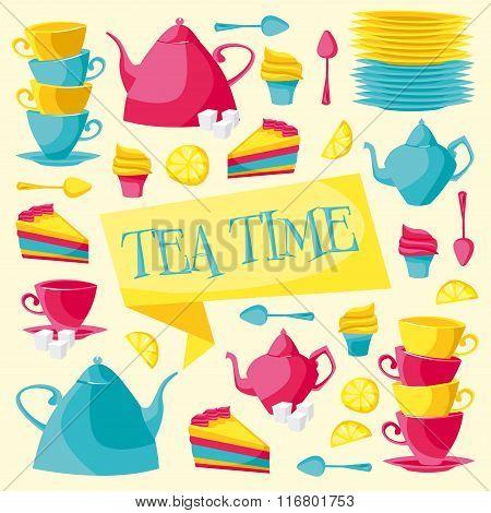 Tea time card. Vector illustration.