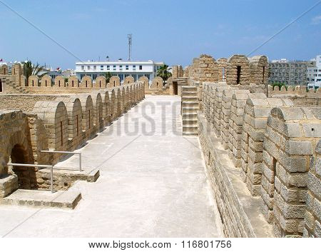 Wide Wall Of Ribat (fortress) In The Town Of Sousse.