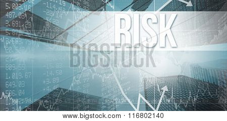 The word risk and stocks and shares against skyscraper