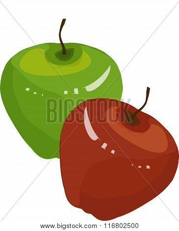 Green, red apple, brown roots on white background, hand drawing, painting