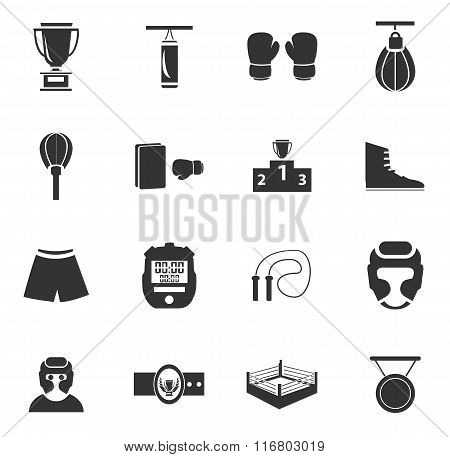 Boxing icon set