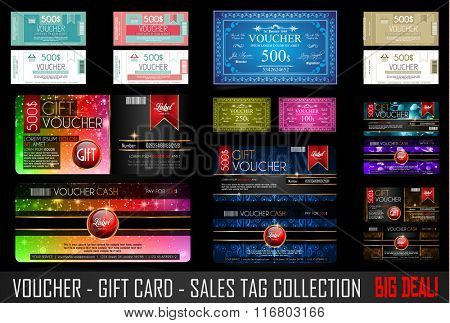 Big Collection of Voucher Gift Card layout templates for your promotional design, tickets template, printed gift cards.. Space and fields for text, front and back provided.