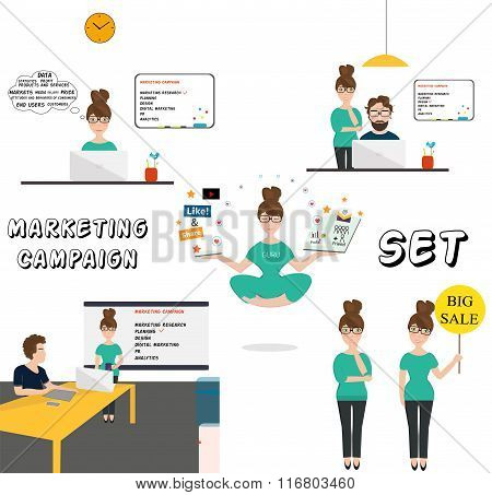Business marketing process. Vector illustration
