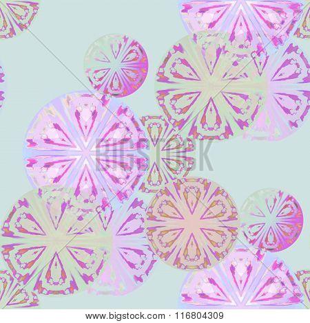 Seamless circles pattern violet purple mint green