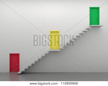 Three Doors And Stairs