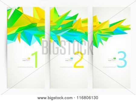 Three banners. Abstract group of triangle elements for design