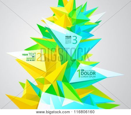 abstract group of triangle elements for design with label