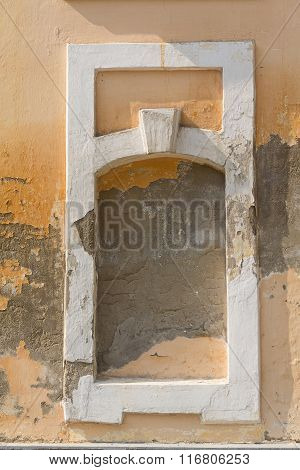 Old Plaster And Niche Pledged Window. Backgrounds And Textures