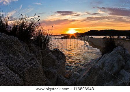 Sea rocks at sunset, west coast of Sithonia, Chalkidiki