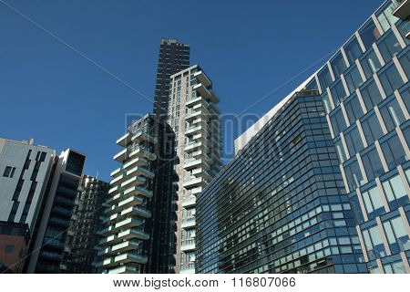 MILAN, ITALY - NOVEMBER 7, 2015: Solaria Tower designed by the Arquitectonica and the Diamantini Building in the Porta Nuova district in Milan, Lombardy, Italy.