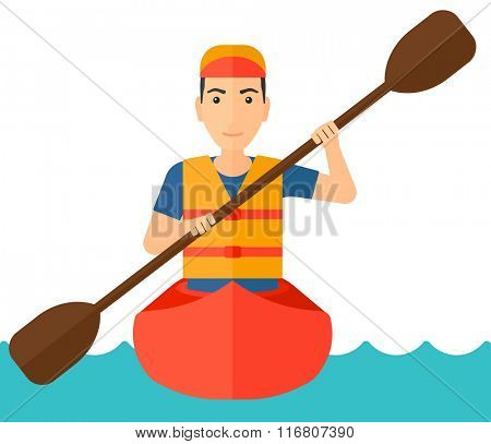 Man riding in canoe.