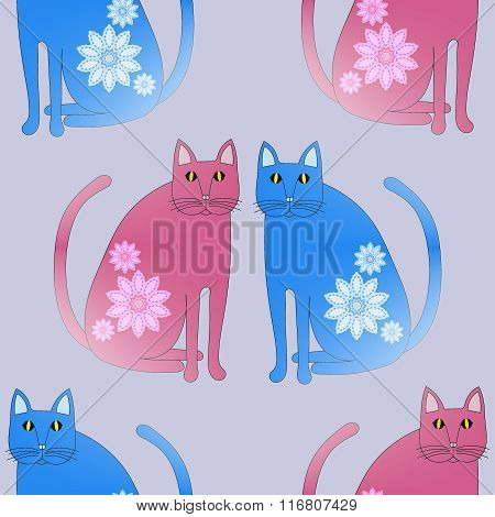Seamless pattern fantasy cats blue pink violet