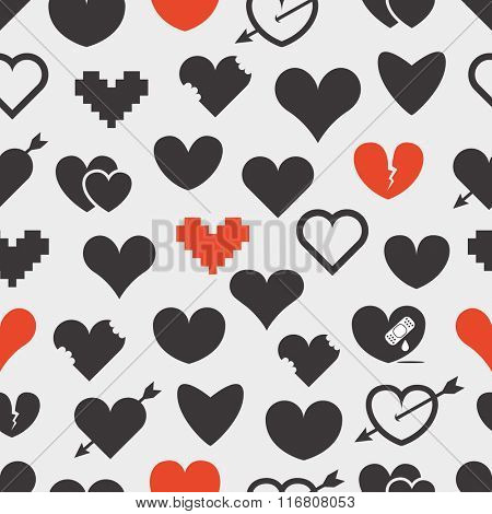 Different abstract hearts seamless pattern