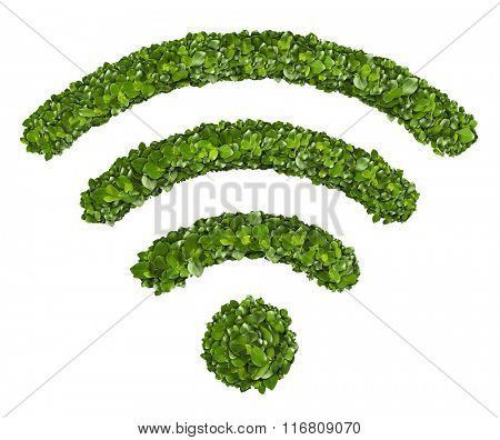 Wi-Fi Icon from the green grass. Isolated on white