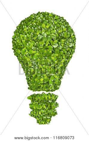 Ecological light bulb icon from the green grass. Isolated on white