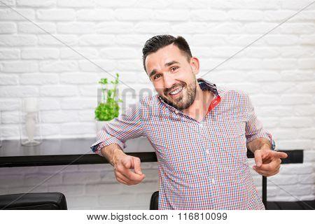 Joyful Man In Kitchen