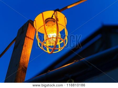 Old Electric Bulb On Cable at night, Las Vegas