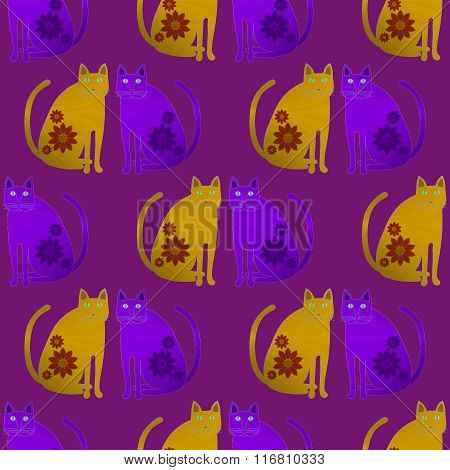 Seamless pattern fantasy cats yellow purple