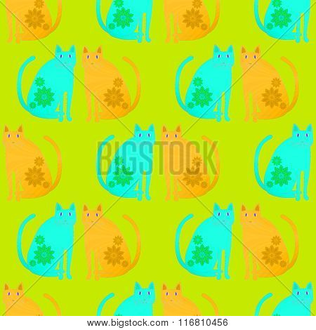 Seamless pattern fantasy cats orange turquoise green