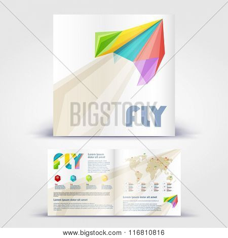 Paper Plane brochure. Color application booklet template design for corporate identity with statistics and infographics. Cover layout and infographics. Business stationery.
