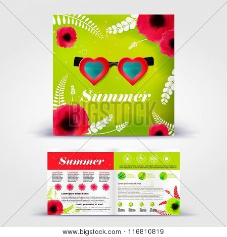 Summer poppy and heart shaped glasses brochure. Color application booklet template design for corporate identity with statistics and infographics. Cover layout and infographics. Business stationery.