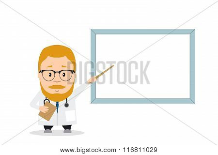 Doctor or PhD presentation with pointer near board. flat illustration