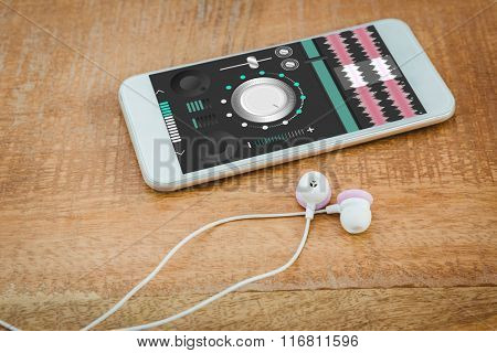 Music app against white smartphone with white headphones