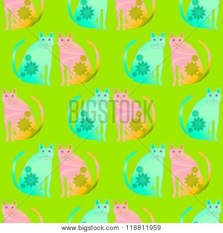 Seamless pattern fantasy cats turquoise pink orange green