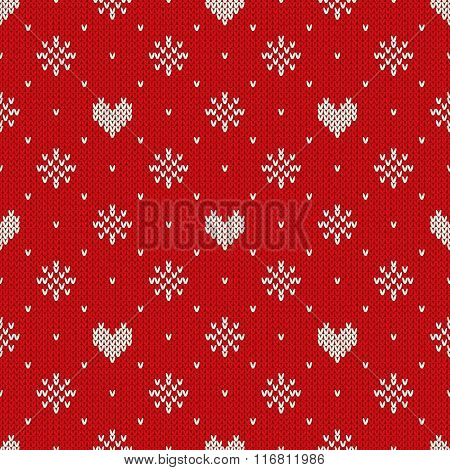 Seamless Knitted Pattern With Hearts And Snowflakes