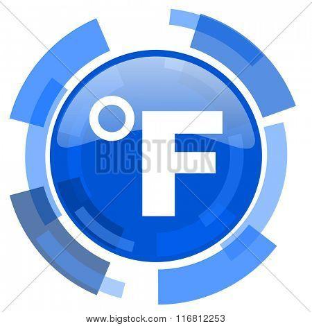 fahrenheit blue glossy circle modern web icon