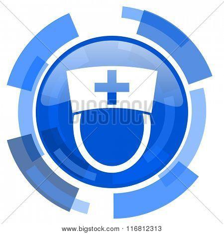 nurse blue glossy circle modern web icon