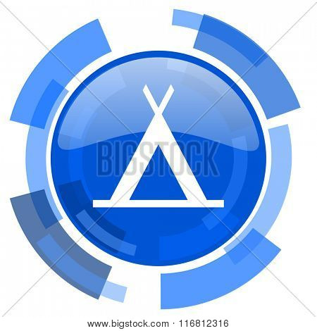 camp blue glossy circle modern web icon
